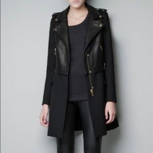 ZARA Leather wool coat